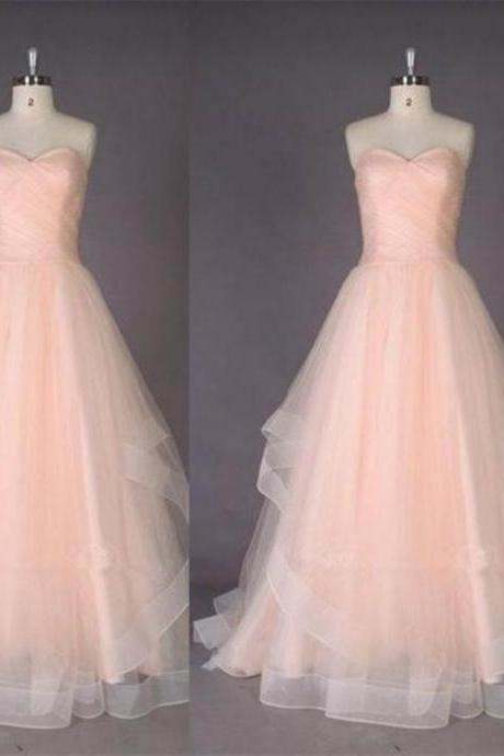 Ruching Sweetheart Tulle Prom Dresses 2017