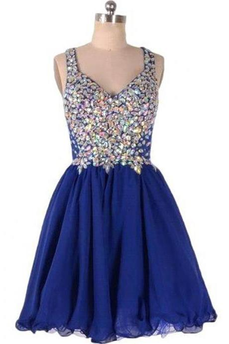 Royal Blue Tulle Homecoming Dresses Sleeveless A lines V-Neck Scoop Zippers Short Rhinestone