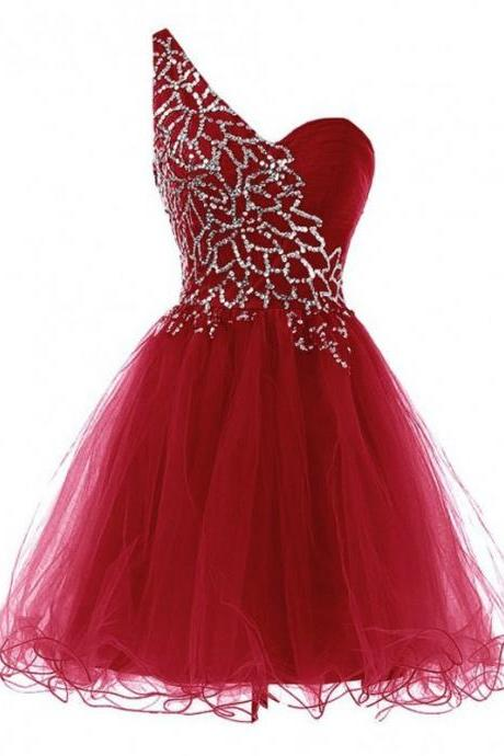 Red Tulle Homecoming Dresses Sleeveless Ball-Gown One Sleeve Laced Up Knee-length Beadings