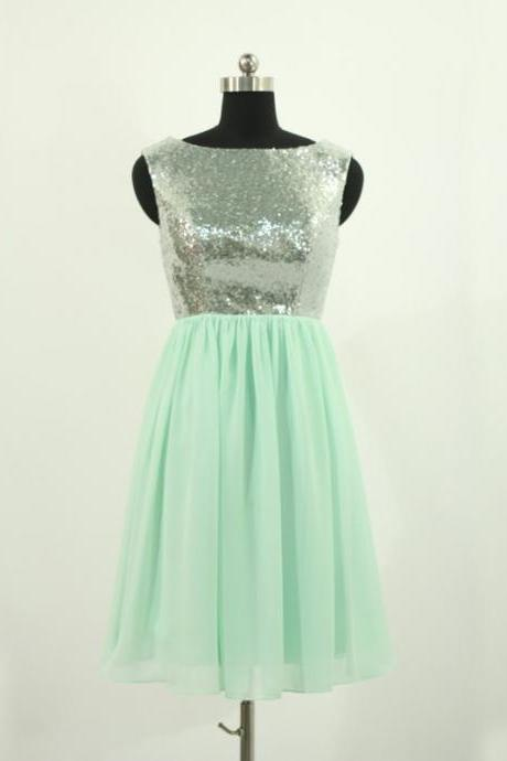 Mint Homecoming Dresses Sleeveless A Line Bateau Zippers Mini Paillette