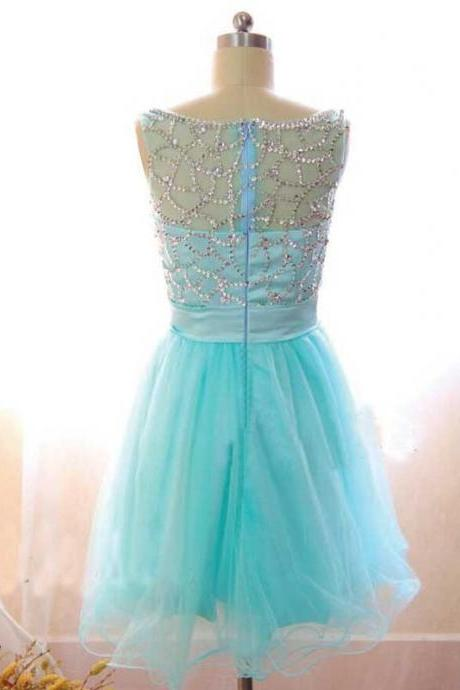 Blue Homecoming Dresses Sleeveless A lines Sheer Neckline Zippers Short Crystal Beads Ruffle
