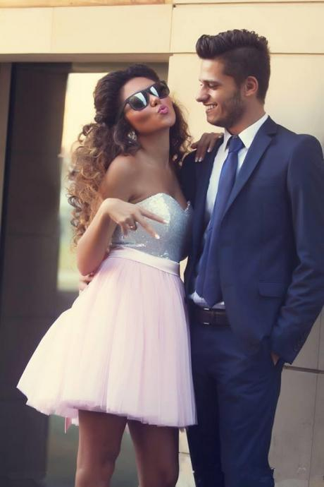 Rose Pink Homecoming Dresses Sleeveless A-Line/Column Sweetheart Neckline Zipper-Up Above Knee Paillette