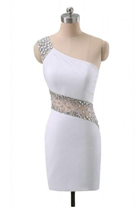White Homecoming Dresses Sleeveless Column One Sleeve Gauze Above-Knee Beaded
